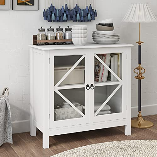 RASOO Sideboard Cabinet Display Buffet Storage Cabinet with Double Framed Glass Doors Entry Cabinet for Home Kitchen Dining Room, Cupboard Console Table, Espresso (White)