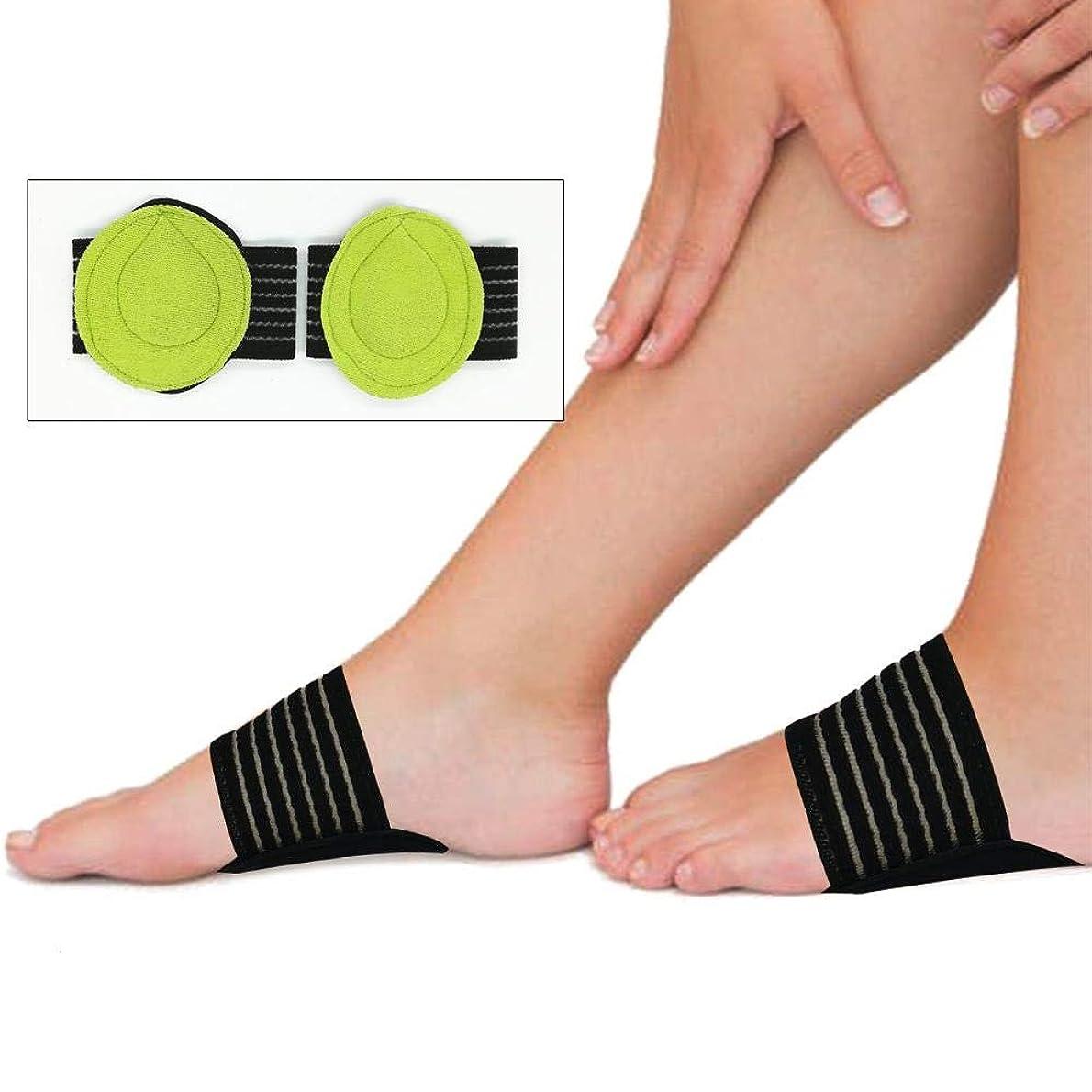 スロープオフネックレス足底筋膜炎のための2対のクッション付き圧縮アーチサポート倒れたアーチヒールスプリアスフラットとアーチーの足の問題(ワンサイズ)