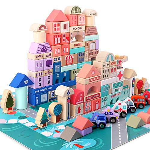 Lewo 115 Piezas de Bloques de Construcción con Mapa de la Ciudad Juegos de Construcción de Madera Ciudad Bloques de Apilamiento Juguetes Educativos de Preescolar para 3 4 5 6 Años Niños Niñas