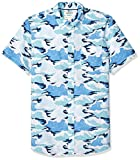 Amazon Brand - Goodthreads Men's Standard-Fit Short-Sleeve Printed Poplin Shirt, Wave, Large