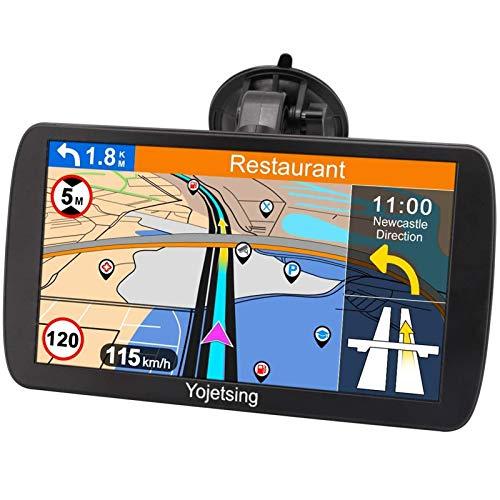 Navigationsgerät für Auto Navi LKW Navigation PKW Navigationssystem 9 Zoll 16GB Lebenslang Kostenloses Kartenupdate mit POI Blitzerwarnung Sprachführung Fahrspurassistent 52 Europa UK Karten