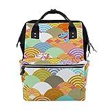 ALINLO - Bolsas de pañales japonesas coloridas con patrón de escamas de peces de gran capacidad, multifunción, mochila para viajes