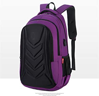 Casual Backpack,Multifunctional Waterproof Laptop Backpack with USB Charging,Student Outdoor Travel Daypack Purple