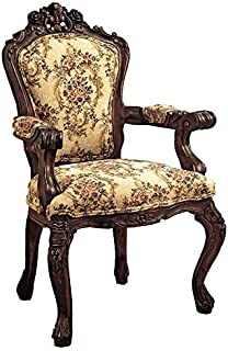 Design Toscano Rocaille Carved Victorian Armchair, 41 Inch, Cherry