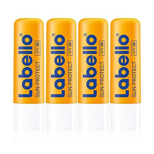 Labello Sun Protect im 4er Pack (4 x 4,8 g), wasserfester Lippenpflegestift mit Sonnenschutz (LSF 30), Lippenpflege ohne Mineralöle