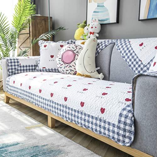 DKZ Manta acolchada de algodón para sofá, cojín de asiento antideslizante, tela gruesa pastoral para las cuatro estaciones, funda universal de algodón (70 x 150 cm, RZX love)