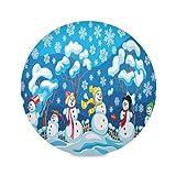 Juego de 1 manteles individuales redondos de Navidad con muñecos de nieve para Navidad, invierno, añ...