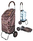 dbest products Trolley Dolly, Brown Polka Dot Shopping Grocery Foldable Cart