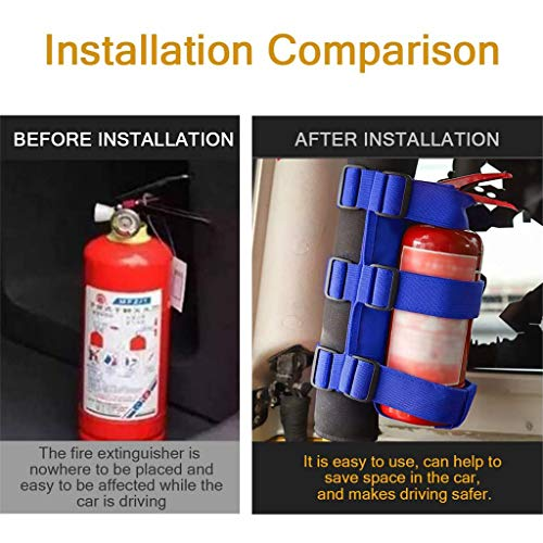 PSLER Universal Car Roll Bar Fire Extinguisher Holder Mount for Jeep Wrangler JK YJ TJ JL JKU JLU (Blue)