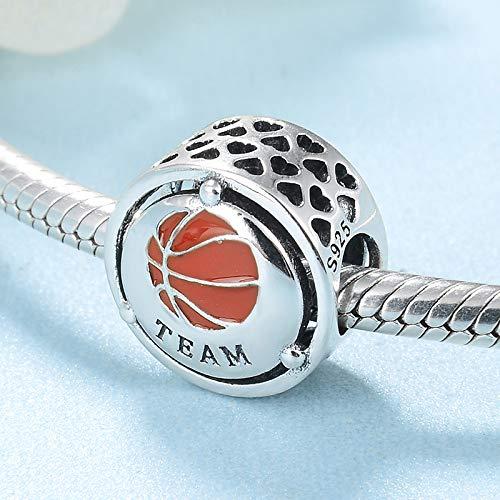 XUBB ZioCz Espíritu de Equipo Baloncesto 925 Plata Charms Beads Charms Bracelet Jewelry