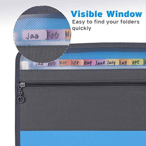 Sooez Expanding File Folder with Sticky Labels, 13 Pocket Accordion File Folder Document Organizer Expanding Zip File Folder with Zipper Closure, Letter A4 Paper Document Accordion Folder, Blue Photo #5