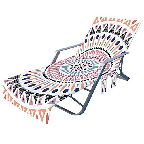 Toalla de Playa Funda de Silla de Playa Bohemia Mandala Árbol de Coco Piña Impresión Microfibra Funda de Silla de Playa de Secado Rápido con Bolsillos 75 × 210 cm (Farbe 4, 75 × 210 cm)