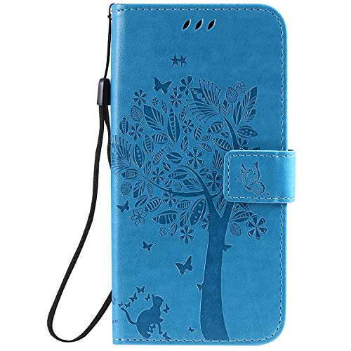 iPhone 7 Plus 5.5' Case, iPhone 8 Plus 5.5' Cover [Screen Protector],Fatcatparadise Retro Flip Case, Elegant Vintage Premium PU Leather Wallet Ultra Slim Fit Cover For iPhone 7 Plus/8 Plus 5.5' (Blue)