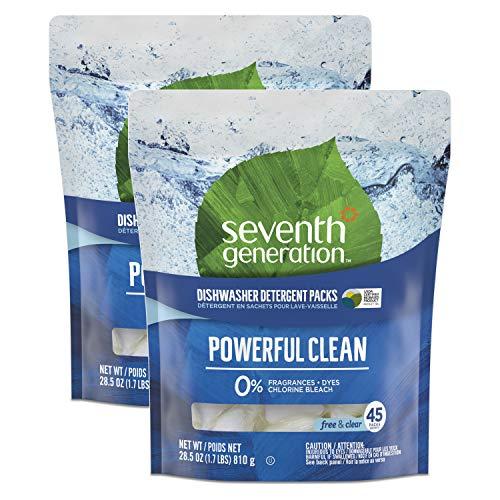 Seventh Generation Fragrance Free Dishwasher Detergent Pack, 45 Count, 2 Pack