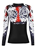 Raven Fightwear Women's Dragon and Tiger Rash Guard BJJ MMA Black 2X-Small