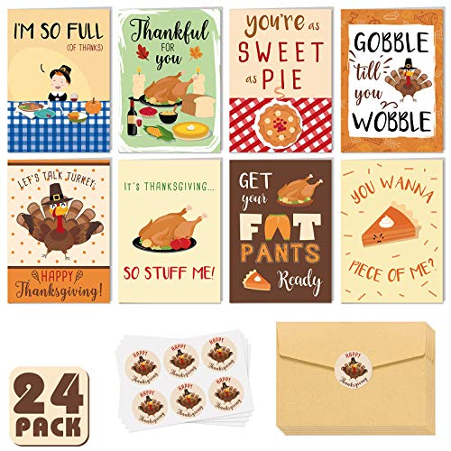Thanksgiving Cards with Kraft Envelopes Funny Turkey Pie Greeting Cards for Thanksgiving Day Family Feast Friendsgiving Thank You Postcards Fall Party Harvest Celebration Supplies Set of 24