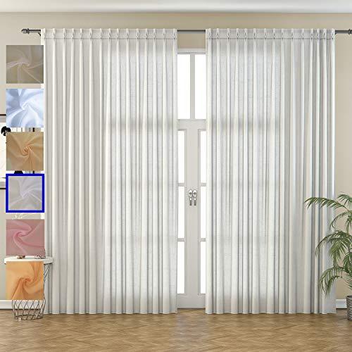 domus&trend Elizabeth - Cortinas para casa de decoración elegantes, fabricadas en Italia, de excelente calidad, fabricadas íntegramente en Italia (blanco natural)