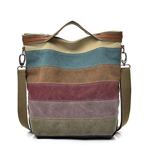 JEANS Bolso de hombro, casual, bolsa de lona, costura, estilo étnico, A0001, marrón