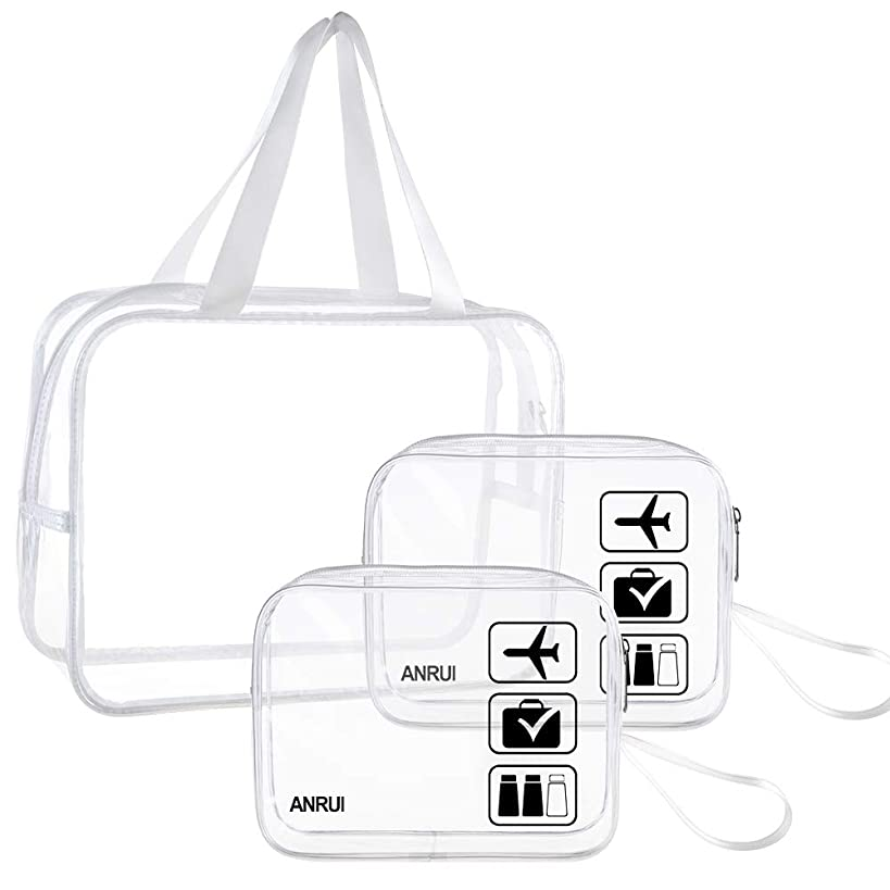 ANRUI Travel Accessories Clear Toiletry Bag for Women & Men, 2pcs Small TSA Approved Makeup Bags + 1pcs Large Cosmetic Tote Travel Organizer (Clear)