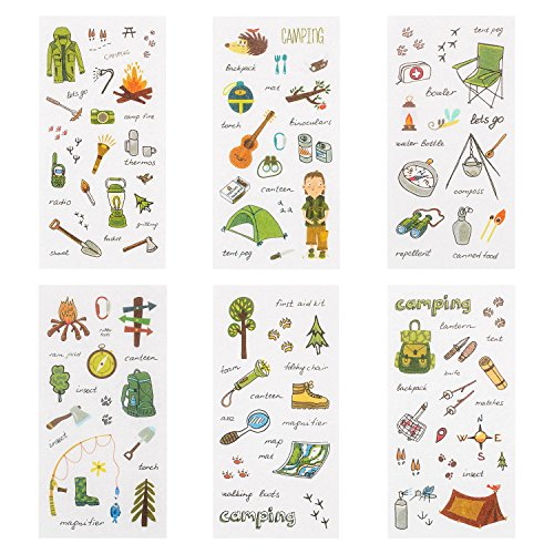 36 Sheets Stickers Set, Camping Stickers Set Decorative Sticker Collection for Scrapbooking, Calendars, Arts, Kids DIY Crafts, Album, Bullet Journals (Camping Theme)