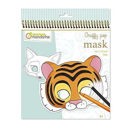 Avenue Mandarine- Heft mit Spirale Graffy Pop Tiermasken- 24 vorgestanzte Masken zum Ausmalen- Papier Clairefontaine PEFC-Zertifiziert- Zum Ausmalen mit Buntstiften, Filzstiften oder Malfarbe - GY023O