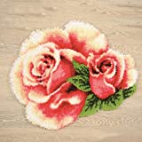 UR MAX BEAUTY Fermo Hook rug Kit Fai da Te Cucito Unfinished Uncinetto Tappeto Filati Cuscino Mat Fiore Rosa Ricamo 3D Carpet
