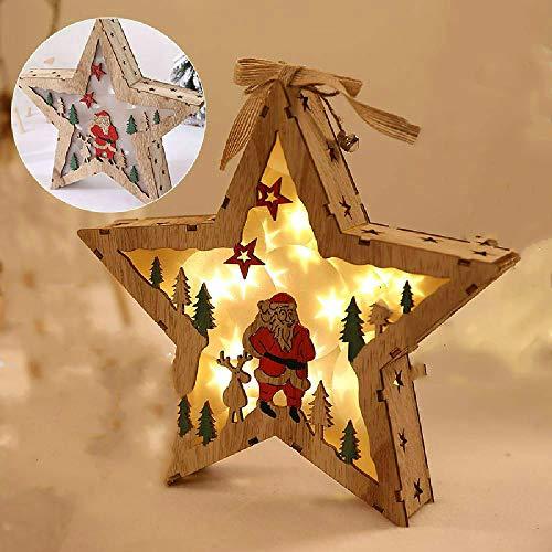 Decoraciones navideñas Lámpara de estrella Adorno luminoso de regalo Escena colgante nórdica Decoración Elk Muñeco de nieve Trineo Adorno de árbol de madera