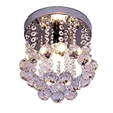 Mini Modern Crystal Chandeliers Flush Mount Rain Drop Pendant Ceiling Light for Girls Room,Bedroom(7.9 Inch)