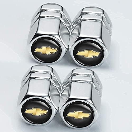 4 Piezas Coche Neumáticos Tapas Válvulas para Chevrolet Silverado Tahoe Malibu Camaro Cruze Equinox Sonic, Antirrobo Prueba Polvo Impermeable Coche Decoración Accesorios