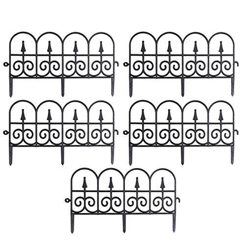 Sanmubo - 5 unidades de valla para bordes de jardín, decoración para exteriores, jardín, borde de jardín, valla para bordes de plantas, color negro y blanco - 3 m