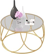 Lcxliga Side Tables with Storage for Living Room | Round Coffee End Tables for Small Spaces | Metal Basket & Removable Tem...