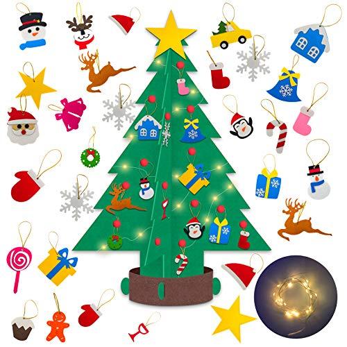 Halcyerdu Fieltro Árbol de Navidad, con 30pcs los Ornamentos Desmontables, y 2m luz de Cadena LED, para Niño arbol de Navidad decoración,Regalos de la Navidad