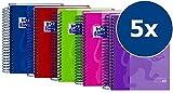 Oxford European Book 4 Notizbuch A6 kariert, sortiert, 5er Pack