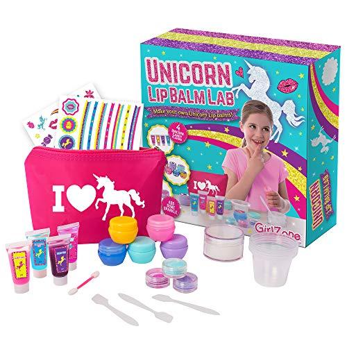 GirlZone Cadeau Fille DIY Faites Votre Propre Baume à Lèvres Kit Licorne - Maquillage pour les Filles - Fabrique de Baumes - Anniversaire pour Petites Filles 6 à 11 Ans- 22 pièces