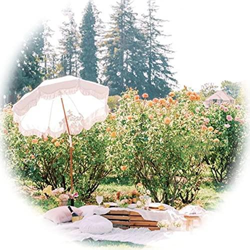 DFVV Sombrilla De Jardín Inclinable Blanca 1.8m, Parasol De Borla Elegante para Patio, Terraza, Picnic, Playa, Viajes De Vacaciones, Parasol, Portátil, Sin Base