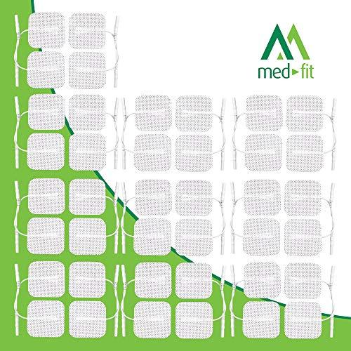 Med-Fit ® Tens-Elektroden 40 Pads 10er Packungen mit extra langlebigen, selbstklebenden Tens-Pads von höchster Qualität, Größe 5 cm x 5 cm. Kompatibel mit den meisten TENS