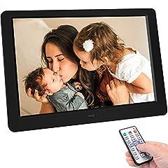 TENSWALL 10 inch Digital Picture Frame 1280x800 High Resolution Full IPS Display Photo/Music/Video Player Calendar Wekker Automatisch AAN/UITGESCHAKELD Timer, ondersteunt USB- en SD-kaart, afstandsbediening*