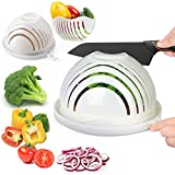 ESEOE Salad Cutter Bowl, Salad Bowl Family Wooden Base Upgraded Vegetable Cutter Bowl for Salad in 60 Seconds, Fast Fruit Vegetable Salad Chopper Bowl