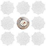 GlobalDream Redondos Salvamanteles Ahuecados, 8 Piezas Manteles Individuales Mantel Individual Tapetes para Mesa de Comedor Kitchen Placemat (Plata, 38cm)