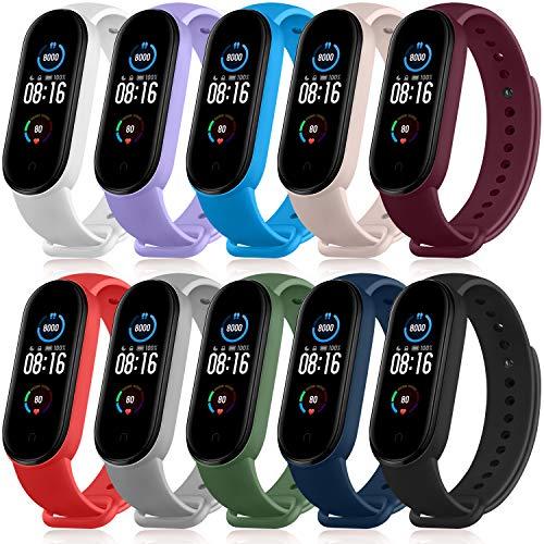 Mugust Armband Kompatible für Xiaomi Mi Band 5, Silikon Ersatz Fitness Armband und Uhrenarmband Sportarmband und Wristband Armbänder für Xiaomi Mi Band 5 (10 Color)