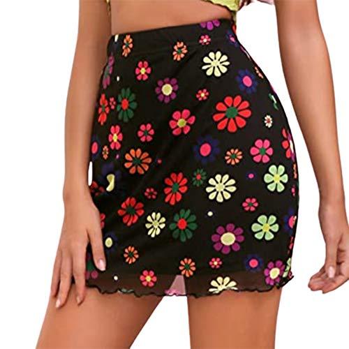 Madger Falda corta floral de malla pura Y2K de cintura alta de doble capa Bodycon falda una línea de bohemia mini falda para el verano