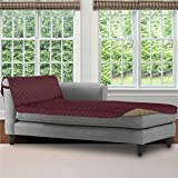 SOFA SHIELD Original Patent Pending Reversible Sofa Chaise Protector, 102x34 Inch, Washable Furniture Protector, 2 Inch Strap, Chaise Lounge Slip Cover for Pets, Dogs, Kids, Cats, Burgundy Tan