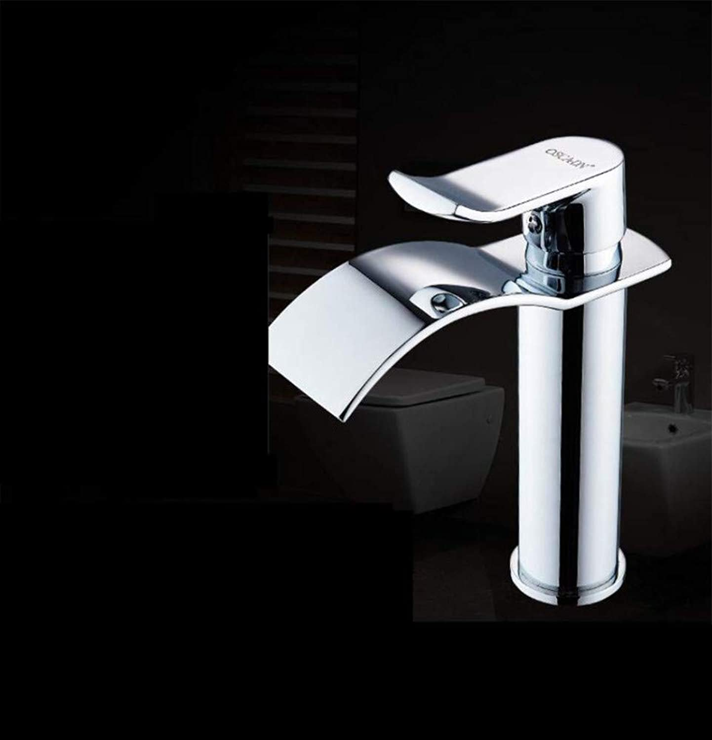 360° redating Faucet Retro Faucetbasin European gold Faucet Copper Single Hole Black Waterfall Basin Faucet Heightening