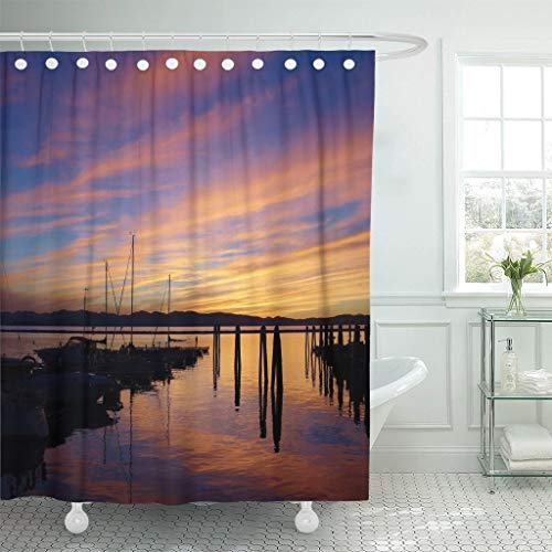 Abaysto Remarkably Colorful Lake Champlain Sunset in Burlington Vermont Wispy Bathroom Decor Shower Curtain Sets with Hooks Polyester Fabric Great Gift