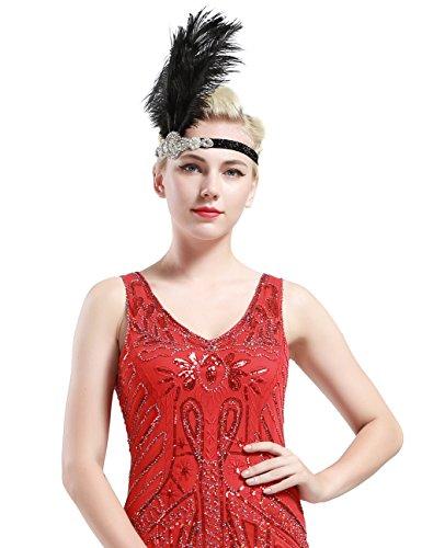 Babeyond Frauen Roaring Prom Ostrich Feder Stirnband Party Headwear 1920er Jahre Zubehör für Frauen Hyperbole Art Deco Style - 3