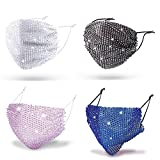 Rhinestone Adjustable Face Mesh Mask for Women,Washable Reusable Sparkly Bling Glitter Decorative Breathable Diamonds Masquerade Mask for Party Costume(4pcs-Black Colorful&White Colorful&Royal Blue&Light Purple)