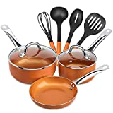 SHINEURI 9 Pieces Copper Cookware Pans and Pots Set - 8 inch Fry Pan, 1.5qt Saucepan and 2.5 qt...