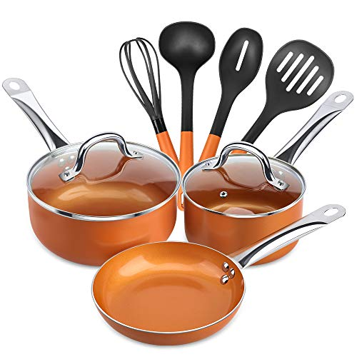 SHINEURI 9 Pieces Copper Cookware Pans and Pots Set - 8 inch Fry Pan, 1.5qt Saucepan and 2.5 qt Saucepan with Lid, 4 Set Cooking Utensils - Perfect for Stir fry, Grill Roast, Sauce, Soup