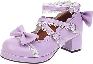 NIGHT CHERRY Femmes Doux Bowknot Chaussures Talons Moyen Bloc