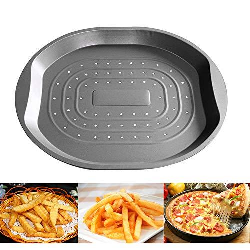 Bandeja para patatas fritas, bandeja antiadherente para pizza multiusos, de acero al carbono, para cocinar patatas fritas, pasteles, asar, herramienta de cocina para el hogar, hotel, 39 cm x 33,5 cm